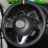 DIY Siyah Hakiki Deri Araba Direksiyon Kapağı Mazda CX-5 Mazda 3 2013-2016 Mazda 6 2014-2016 için Scion iA 2016