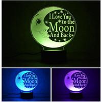 문 표 램프 3D 나는 당신을 달 및 등을 맞댄 사랑한다 Nightlight LED 잠자는 침실 잠자는 밤 빛 장식 선물 LED 완구
