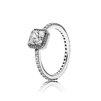 100% Authentic 925 Sterling Silver CZ Diamond RING Logo Orig...