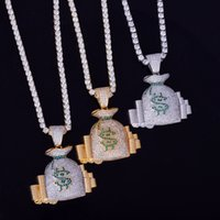 Money Bag Stack Pendant Gold Chain Hip Hop Jewelry Designer ...