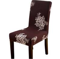 Bloemen print bruin verwijderbare stoel cover stretch elastische slipcovers restaurant voor bruiloften banket vouwen hotel