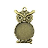 12 Pieces Cabochon Cameo Base de bandeja painel vazio Descobertas jóias Componentes Owl único lado Inner Tamanho 20 milímetros colar redonda pingente Definição