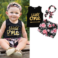 3pcs Set Kids Baby Girl Clothes Wild One Arrow Letter Print ...