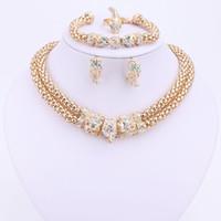 Ensembles de bijoux pour les femmes Double Chaîne Leopard Cristal Or Plaqué Collier Boucles D'oreilles Bracelet Anneaux Accessoires De Robe De Mariage