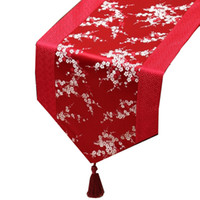 Short Length Patchwork Chinese Silk Table Runner Cherry blos...