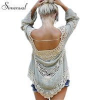Handmade crochet splice ladies blouse lace long sleeve beach...