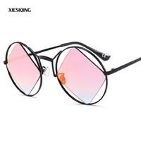 dd1551f5fbe01 2018 Moda Rodada Armação De Metal Óculos de Sol dos homens Senhora Clássico  Do Vintage Óculos