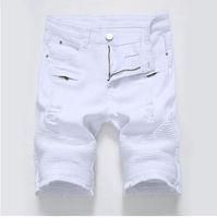 جديد أزياء رجالي السائق جينز قصير ممزق الدينيم السراويل للدراجات النارية للرجل مع سحابات متعددة زائد الحجم 28-42