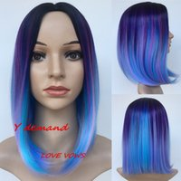 12 ' ' Black Mix Blue Purple Synthetic Wigs Short b...