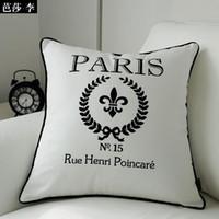 "Envío gratis moda ""Paris"" cubierta de cojín decorativa Throw Pillow Cover funda de almohada de algodón 45X45CM BSL-CC16 venta al por mayor"
