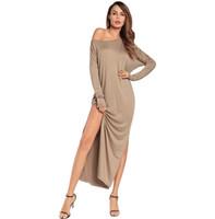 2018 Kadınlar Casual Uzun Elbise Katı Renk Gevşek Kapalı Omuz Yüksek Bölünmüş Up Beach Sokak Maxi Elbiseler