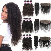 Brazilian Virgin Kinky Curly Human Hair Bundles With Closure...