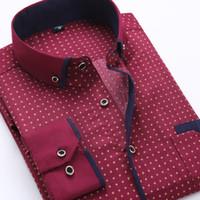 Camicia da uomo a maniche lunghe casual stampata da uomo, uomo, vestibilità slim, vestibilità attillata, vestibilità maschile