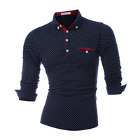 Mens Polo Shirt Marques Mâle Manches Longues Mode Casual Slim Polka Dot Pocket Bouton Polos Designer Automne Polo Chemises Hommes Vente Chaude