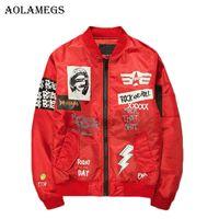 Aolamegs 자켓 남성 인쇄 플러스 사이즈 칼라 폭격기 재킷 패션 캐주얼 착실히 보내다 남성 코트 폭탄 야구 재킷 새로운 스탠드