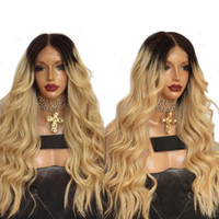 Hot Sexy 180% Density Ombre Golden Blonde Long Curly Wavy Wi...