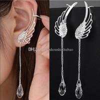 925 Gümüş Melek Kanadı Stilist Kristal Küpe Bırak Dangle Kulak Stud İçin Kadınlar Uzun Manşet Küpe