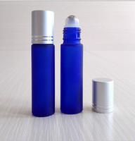 10 мл морозное стекло кобальт синий эфирные масла роликовые бутылки многоразового использования духи ароматерапия рулон на бутылках с шариком из нержавеющей стали