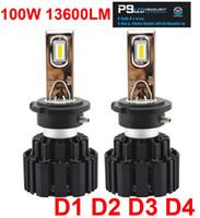 1 juego D1S D2S D3S D4S Universal 100W 13600LM P9 LED Faro 2.5MM Ultra Thin No Blind Chips FLIP Blanco 6000K Lámparas Bombilla 50W 6800LM