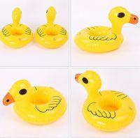 Canard jaune PVC Canne gonflable Porte-gobelets Porte-boissons flottants Piscine Plage Stand Piscine Enfants enfants jouant Jouet de bain