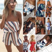 Women Off Shoulder Floral Print Ruffles Jumpsuits Rompers Su...