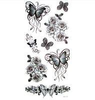 3pcs 3d noir papillon tatouage tatouage temporaire pour homme femme autocollants imperméables maquillage