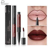 Pudaier Mate Lip Gloss Lip Liner 2in1 Maquiagem Profesional Completa Ágata Tinte de labios rojo Masaje de tatuaje Líquido Labial