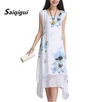 Saiqigui Çin Tarzı Yaz Elbise Kolsuz Kadın Elbise Rahat Pamuk Keten elbise Baskılı O-Boyun Artı Boyutu Vestidos de festa