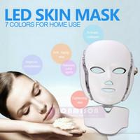 PDT Terapia Luz Máscara Facial LED com 7 Photon cores para rosto e pescoço Home Use rejuvenescimento da pele LED Máscara Facial