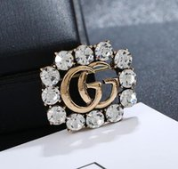 Retro Hollow Letters G Badge Brooches Shining Crystal Rhines...