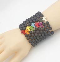 Новый стиль 8 мм натуральный лавовый камень бусины крест браслет ароматерапия эфирное масло диффузор браслет для женщин мужчин