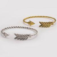 Plume Flèche Alliage Bracelets Or Argent Noir Couleurs Réglable Manchette Bracelet Femmes Bracelets Bijoux De Mode Cadeau
