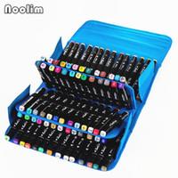 NOOLIM 4 لون 80 علامات هول القلم أكياس القرطاسية الفن علامات القلم أكياس الفنان رسم حقيبة Copic لتصميم الرسوم المتحركة