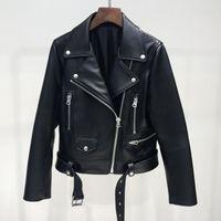 Ailegogo 2018 Nueva Otoño Mujeres Pu Chaqueta de Cuero Mujer Cremallera Cinturón Chaqueta Corta Femenina Motocicleta Negro de Imitación de Cuero Outwear