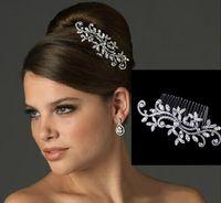 I lager brud hårkam bröllop smycken blomma rhinestone tiaras hår tillbehör mousserande brud hår combs huvudstycken