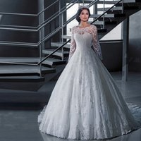 Temperament Long- sleeved Wedding Dress A- line Lace Applique ...