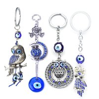 2018 Antique Vintage Silver Owl Charms Keychain Blue Glass B...