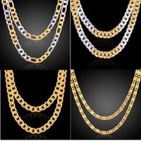 2018 Moda Erkekler / Kadınlar 18 k altın kaplama Kolye 24 inç Zarif Sideways Zincir Parti Hediyeler yılan zincir Aksesuarları N9002 N6003 N120 N002