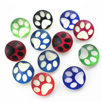 Vente chaude 50 pcs / lot mélange aléatoire patte de chien boutons pression 18mm gingembre bouton snap pendentif bracelet charmes bricolage bijoux