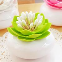 Lotus Cotton Swab Box cotton Bud Holder Base Camera decorare / Lotus stuzzicadenti Titolare stuzzicadenti caso di alta qualità HHY