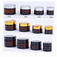 10 20 30 50ml Amber Round Glass Jars, Skin Care Cream Bottle...