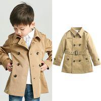 Baby Vintage Tench Mantel Junge Mädchen Kleidung Winddichte Jacke Britisch Doppel Breasted Windjacke Abzugskragen Button Gürtel Kinder