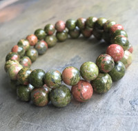 8mm 10mm Unakite Jasper Beads Pulseira, Elastic Pulseira, Gemstone Beads Bracelet, Presentes
