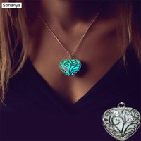 Hot New Glow In The Dark Locket Silver Hollow Glowing Stone ...