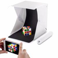 Mini caja de iluminación plegable de estudio Caja suave Caja de mini cubos Kit de carpa de iluminación con luz LED Fondo blanco negro Estudio de fotografía Accesorios