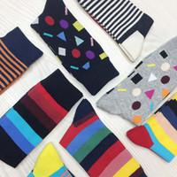 Erkekler Çorap Büyük Baskı Yaratıcı Çorap Versiyonu Saf Moda Joker Adam Pamuk Mutlu Komik Çorap Renkli Men2PCS = 1 PAIRS