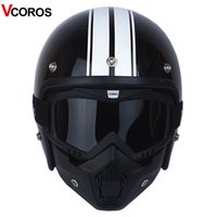 VCOROS 3 4 Open face vintage motorcycle helmet with detachab...
