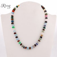 Roing Colorful Crystal Power Necklace Round Natural Stone Cr...