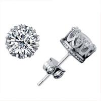 Band Yeni Taç Düğün Damızlık Küpe 2018 Yeni 925 Ayar Gümüş CZ Simüle Diamonds Nişan Güzel Takı Kristal Kulak Yüzükler