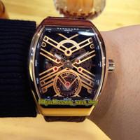 Alta Qualidade Vanguarda New Saratóge V 45 T Sqt Rose Ouro Esqueleto Dial Automático Mecânica Mens Relógio Rose Gold Case Capa de Couro de Couro Watches